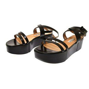 Alexa Wagner Women's Black Leather Platform Sandal Verena Z 10.5 NEW